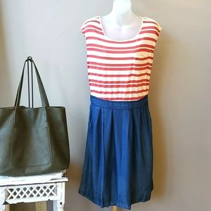 Odille Red, White and Blue Chambray Dress